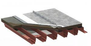 профилированный металлический настил с металлическим фальцевым покрытием