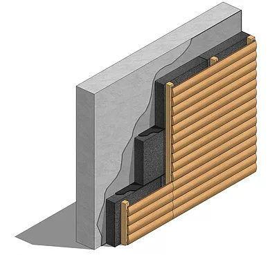 Пример крепления подсистемы облицовки в несущую стену сквозь пеностекло