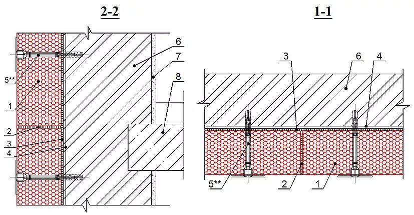1 - блоки из пеностекла; 2 - заполнение швов герметиком; 3 - клеевой состав; 4 - праймер для клеевого состава; 5 - тарельчатый дюбель; 6 -несущая стена; 7 - внутренняя отделка; 8 - плита перекрытия