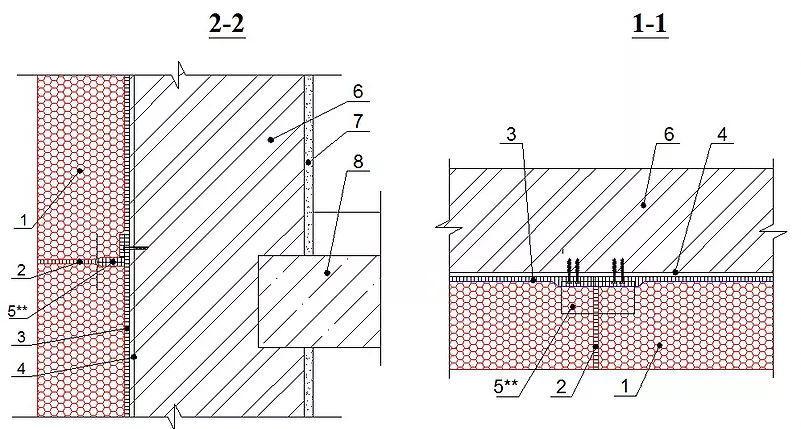 1 - блоки из пеностекла; 2 - заполнение швов герметиком; 3 - клеевой состав; 4 - праймер для клеевого состава; 5 - анкер; 6 -несущая стена; 7 - внутренняя отделка; 8 - плита перекрытия