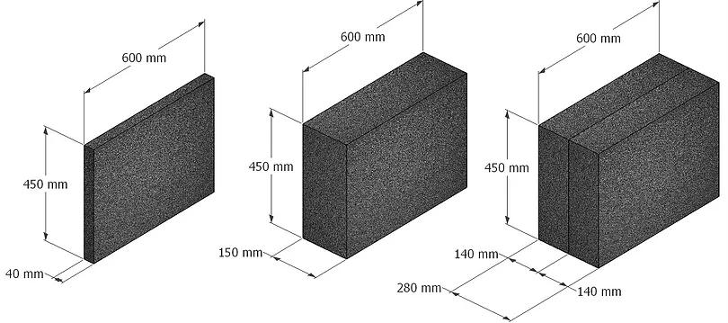 Размеры блочного пеностекла. Блоки разной толщины